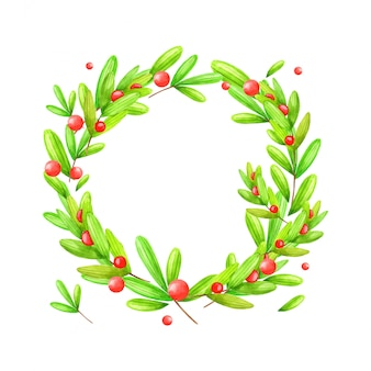 Christmas and new year wreath of spruce, branches, berries watercolor illustration