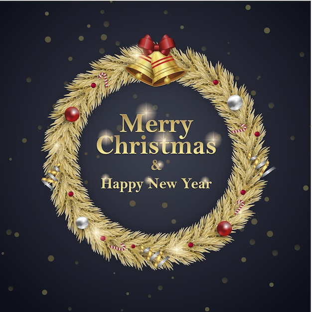 Christmas and new year wreath square social media post advertisement for invitation event blavk gold
