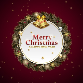 Christmas and new year wreath square social media post advertisement for invitation event on red