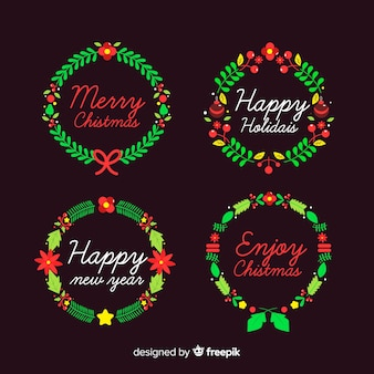Christmas and new year wreaths set