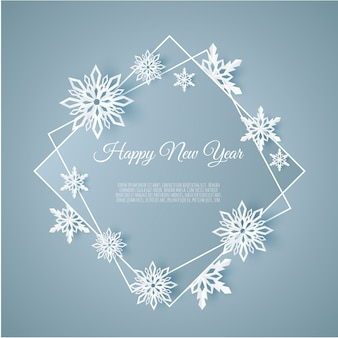 Christmas and new years background with frame made of paper snowflakes,