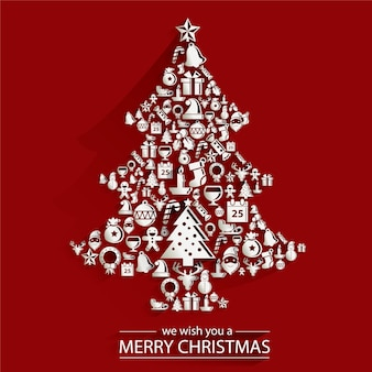 Christmas and new years card with christmas tree made of decorative cutout backgroun