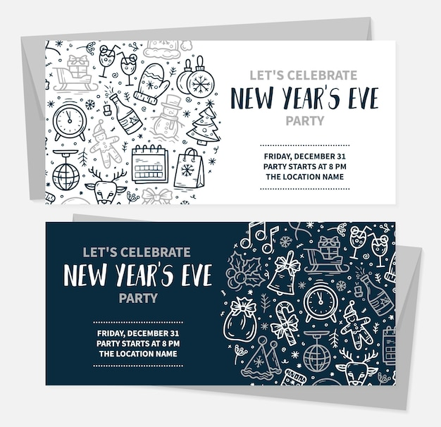 Christmas and new years eve invitation cards for a party with vector icons