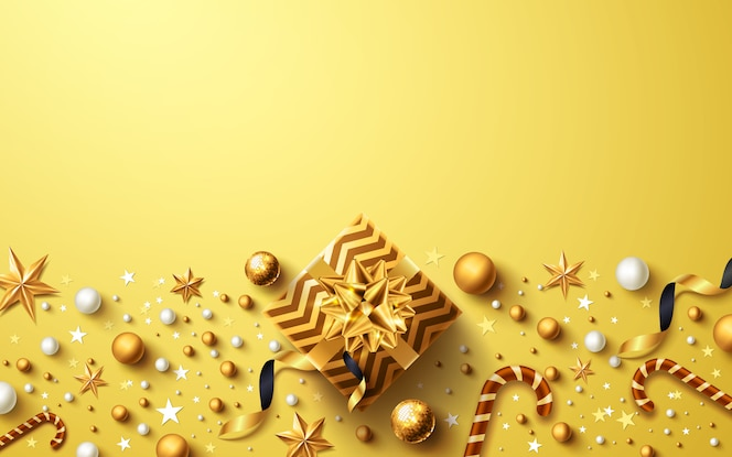 Christmas and new years golden background with golden gift box and christmas decoration