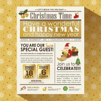 クリスマスパーティーの新聞のポスター