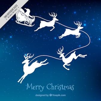 サンタクロースとクリスマスの夜の背景