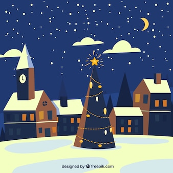 Christmas night in a town