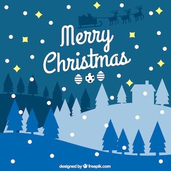 크리스마스 밤 풍경 배경