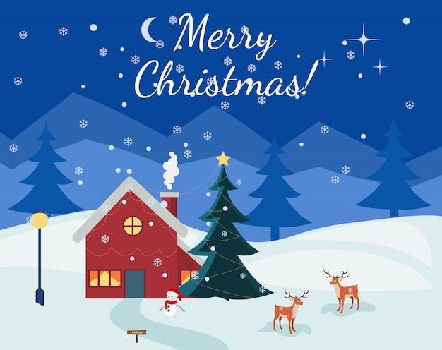 Christmas night landscape card
