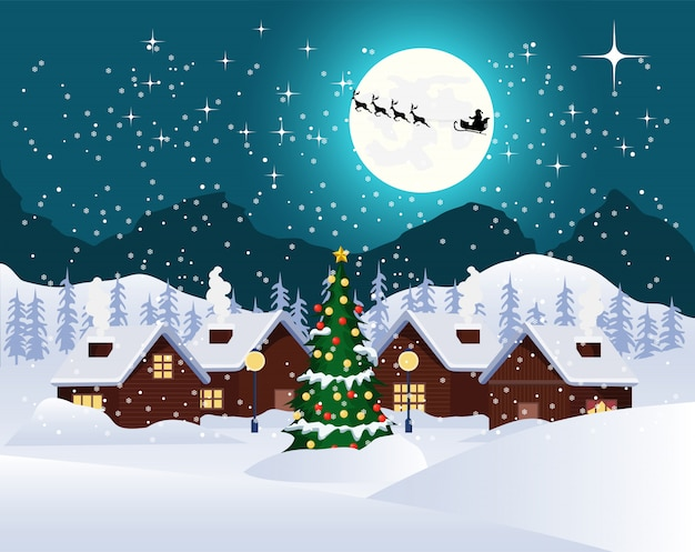 Christmas night landscape