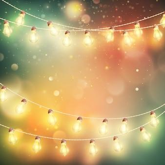 Christmas night lights background.