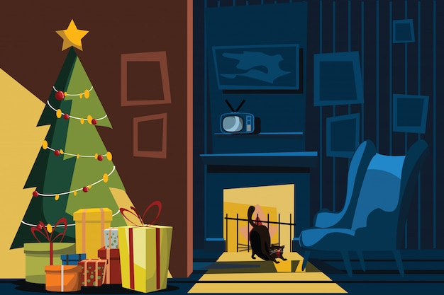 Christmas night in living room vector illustration