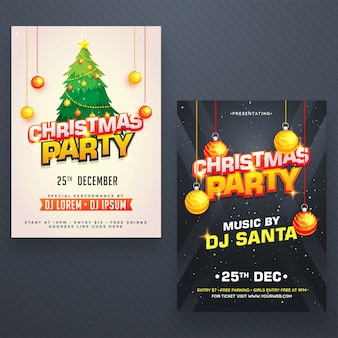 Christmas night party poster, banner or flyer design in two color options.