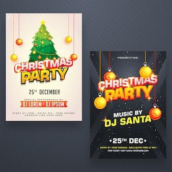 두 가지 색상 옵션에서 크리스마스 밤 파티 포스터, 배너 또는 전단지 디자인.