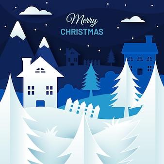 Рождественский ночной фон в бумажном стиле