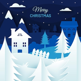 Christmas nighttime background in paper style