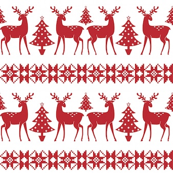 Christmas nordic seamless pattern with trees and deer.