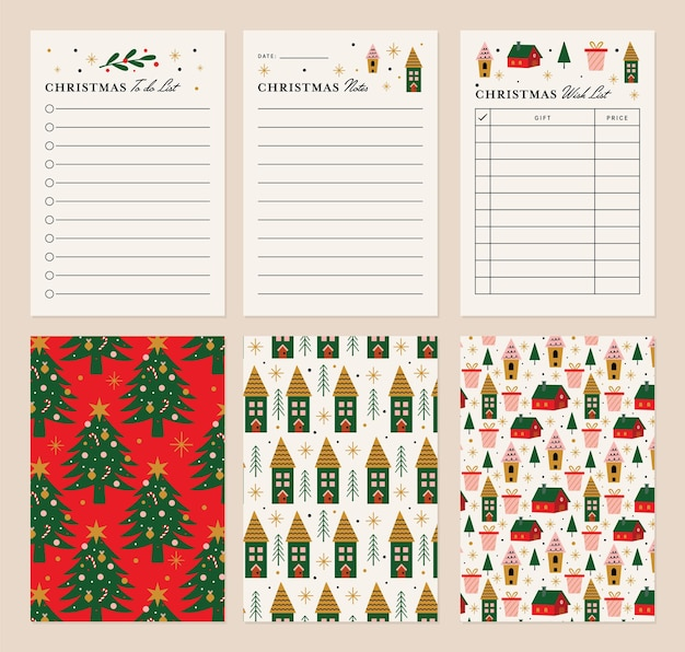 Christmas notes and lists template with back option design