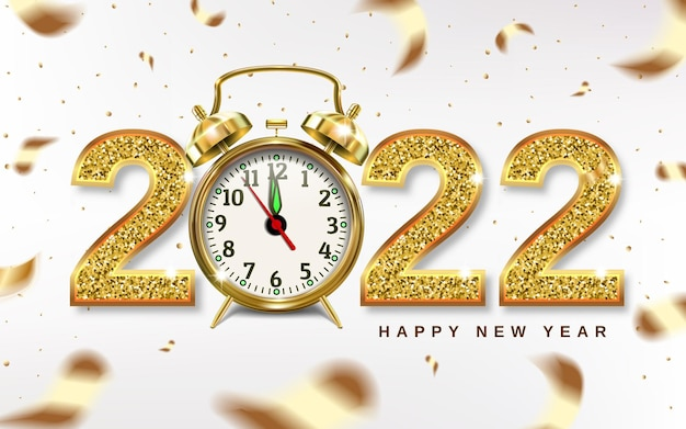 Christmas numbers 2022 with golden alarm clock, arrows point to new year - concept.
