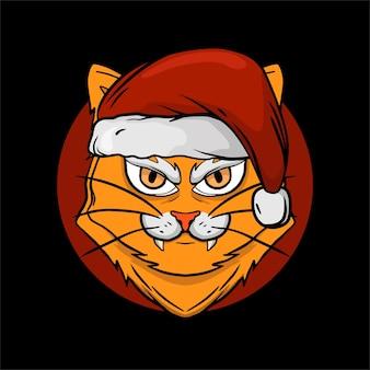 猫のサンタの帽子とtシャツのクリスマスオブジェクト