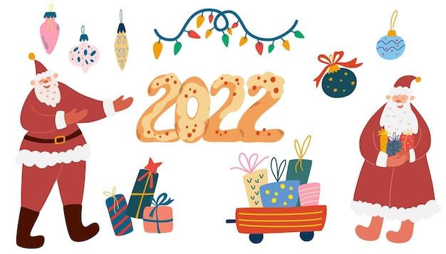 Рождественские объекты и коллекция надписей. дед мороз, подарочные коробки, елочные игрушки и гирлянды. элементы дизайна поздравительных открыток, плакатов, открыток, дизайна упаковочной бумаги. вектор