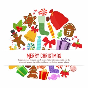 Christmas objects for poster, banner