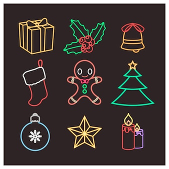 Christmas objects in wireframe neon style