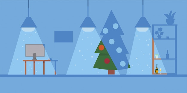 Christmas office illustration with workplace and decorated xmas tree