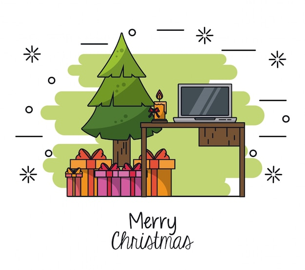 Christmas in the office illustration