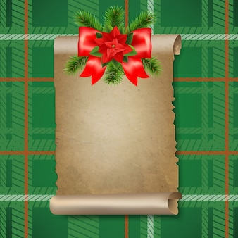 Christmas old paper scrolls banner with gradient mesh,  illustration