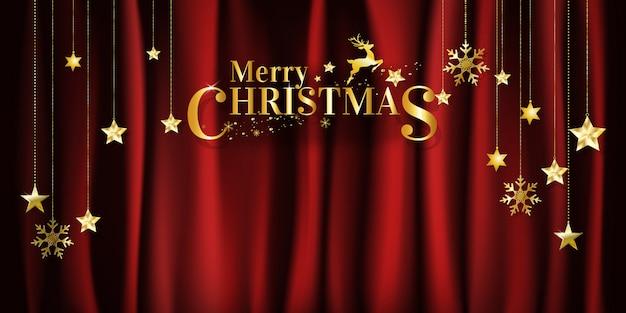クリスマスの背景に星と雪片をぶら下げている赤いファブリックの背景。ベクター。