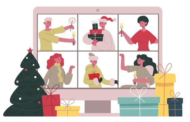 크리스마스 온라인 채팅. 메리 크리스마스 친구 또는 가족 화상 통화, 크리스마스 축하 화상 회의 만화 벡터 삽화. 온라인 크리스마스 파티. 커뮤니케이션 hoiday, 온라인 디지털 채팅