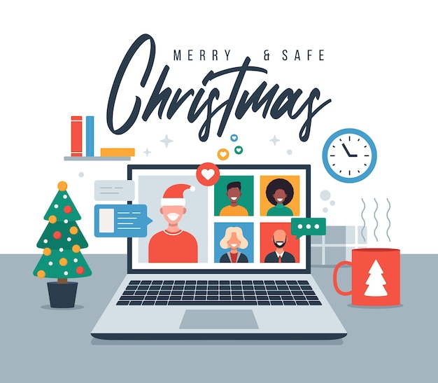Christmas online greeting. people meeting online together with family or friends video calling on laptop virtual discussion. merry and safe christmas office desk workplace