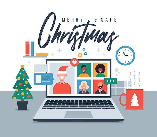 크리스마스 온라인 인사말. 노트북 가상 토론에서 가족 또는 친구 화상 통화와 함께 온라인 회의를하는 사람들. 즐겁고 안전한 크리스마스 사무실 책상 직장