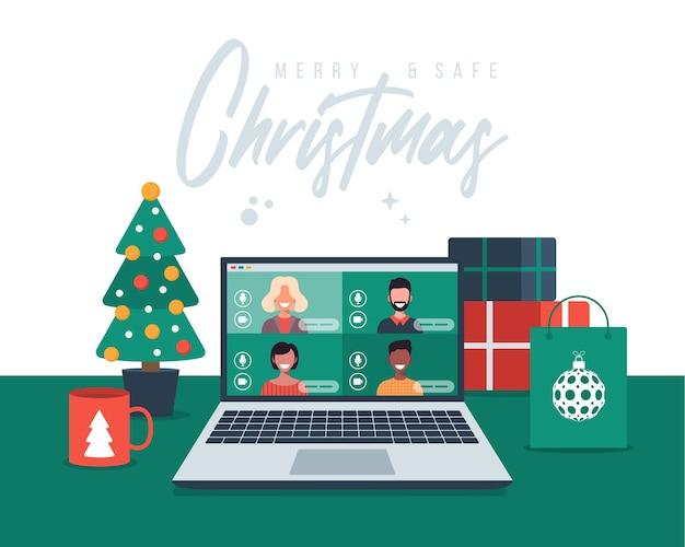 Рождественское онлайн-поздравление. люди, встречающиеся онлайн вместе с семьей или друзьями, видеосвязь на ноутбуке, виртуальное обсуждение.