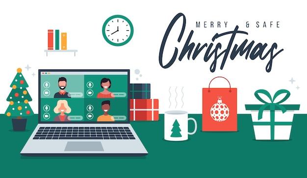クリスマスのオンライン挨拶。家族や友人とオンラインで会う人々は、ラップトップの仮想ディスカッションでビデオ通話をします。