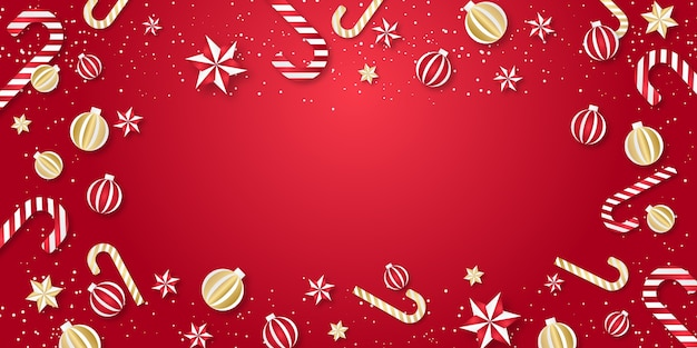 현실적인 장식으로 크리스마스 또는 새 해 배경