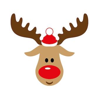 サンタクロースの帽子のクリスマスまたは新年の鹿