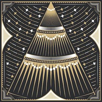 クリスマスまたは新年。黄金の幾何学的なヴィンテージモミの木のグリーティングカード、装飾イラスト。