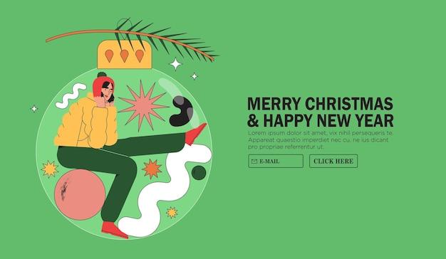 クリスマスまたは新年の挨拶バナー、ウェブサイトまたはページ、広告。笑顔の幸せな女性は、クリスマスツリーの枝に掛けられた大きな安物の宝石の中に座っています。自宅で隔離の冬休みの概念。