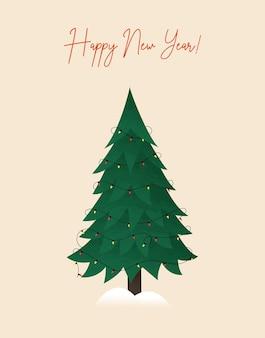 クリスマスまたは新年のグリーティングカードまたはツリーと妖精のライトが付いているポスター