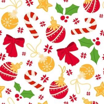 クリスマスまたは新年のシームレスなパターン-キャンディケイン、ヒイラギ、赤い弓