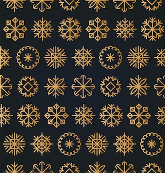 クリスマスや新年のシームレスなパターン。グリーティングカード、ポスターのコンセプトやお祝いパックの雪片のテクスチャ。