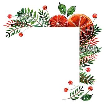 에일 가지와 오렌지, 붉은 열매가 있는 크리스마스 또는 새해 수채화 코너 프레임