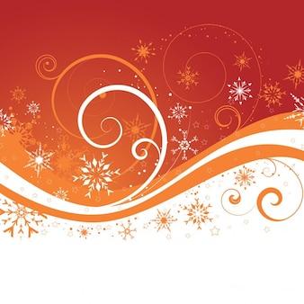 Christmas orange background with snowflakes