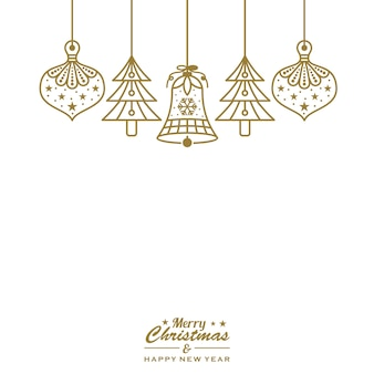 Christmas ornament baubles hanging gold vector