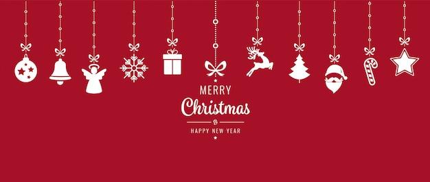 クリスマスの飾りの要素は、赤い背景