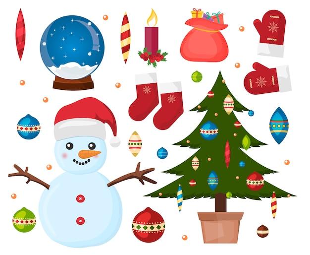 クリスマスオーナメントスター冬のホリデーキャンドルコレクション。休日冬のクリスマスイラストのお祝い。緑のクリスマスツリー、雪だるま