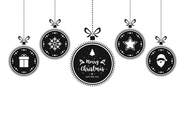 Christmas ornaments baubles hanging isolated background