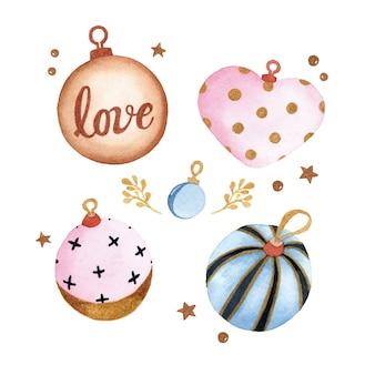 クリスマスオーナメント装飾季節の喜び水彩要素セット